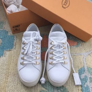 Tod's metallic trimmed leather sneakers